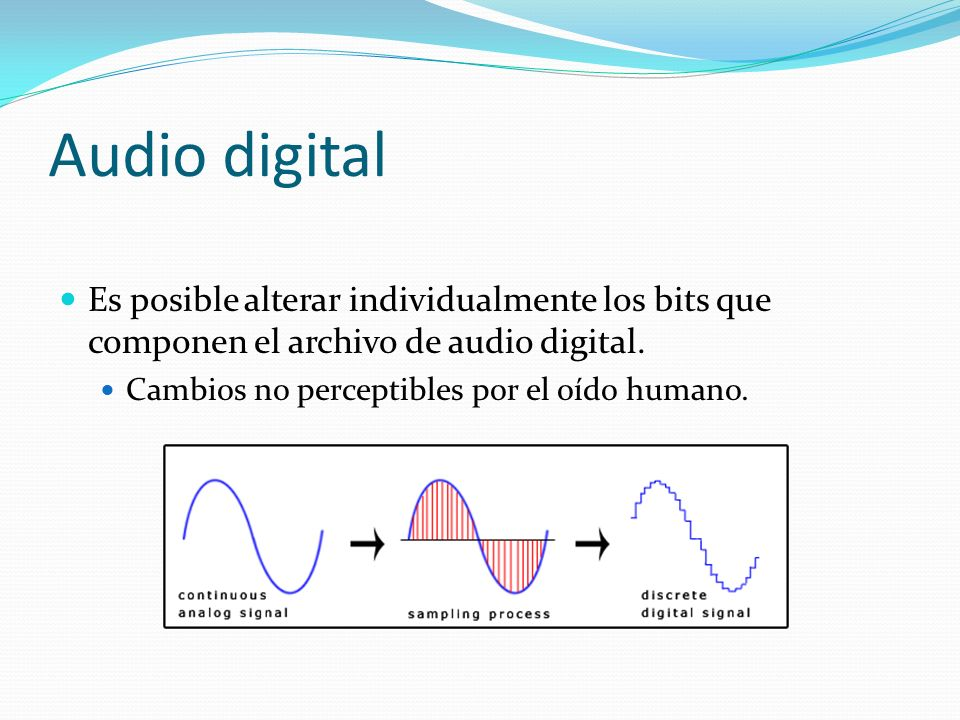 Audio digital Es posible alterar individualmente los bits que componen el archivo de audio digital.