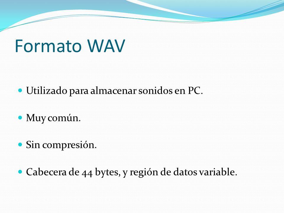 Formato WAV Utilizado para almacenar sonidos en PC. Muy común.