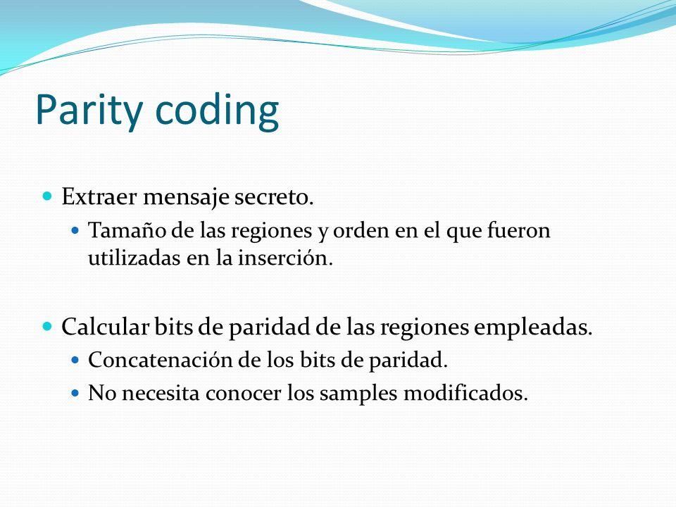 Parity coding Extraer mensaje secreto.