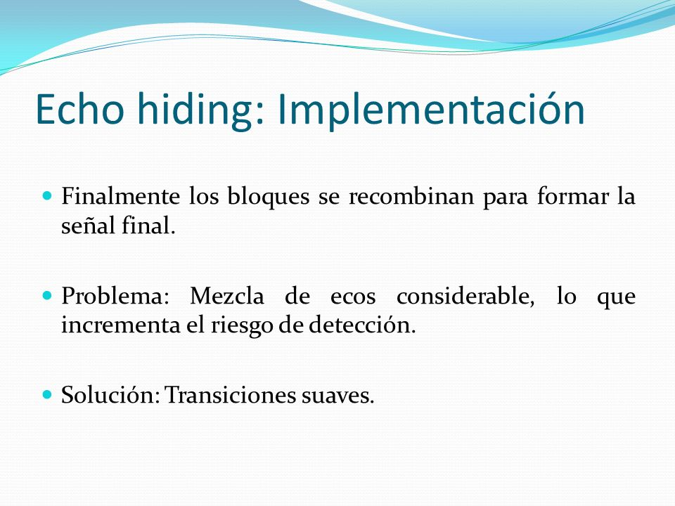 Echo hiding: Implementación