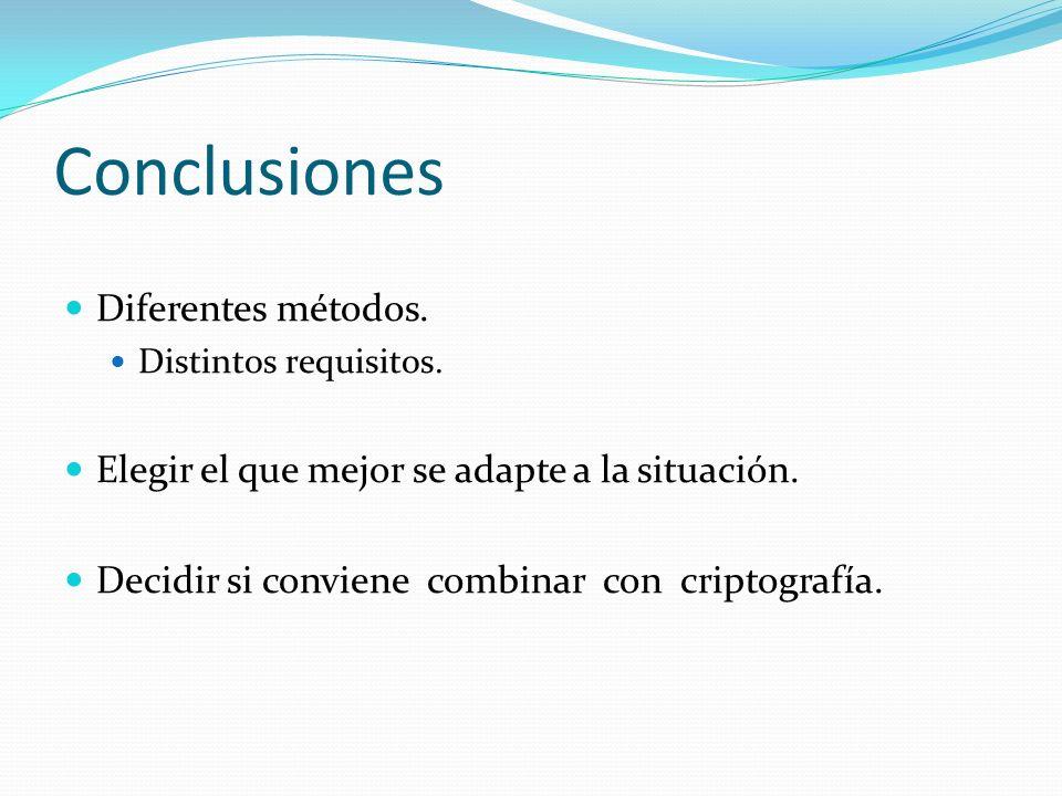 Conclusiones Diferentes métodos.