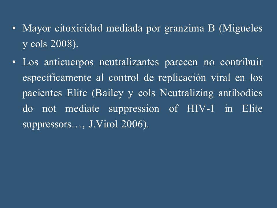 Mayor citoxicidad mediada por granzima B (Migueles y cols 2008).