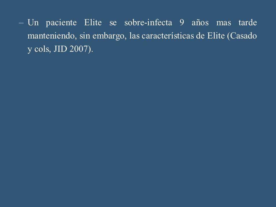 Un paciente Elite se sobre-infecta 9 años mas tarde manteniendo, sin embargo, las características de Elite (Casado y cols, JID 2007).