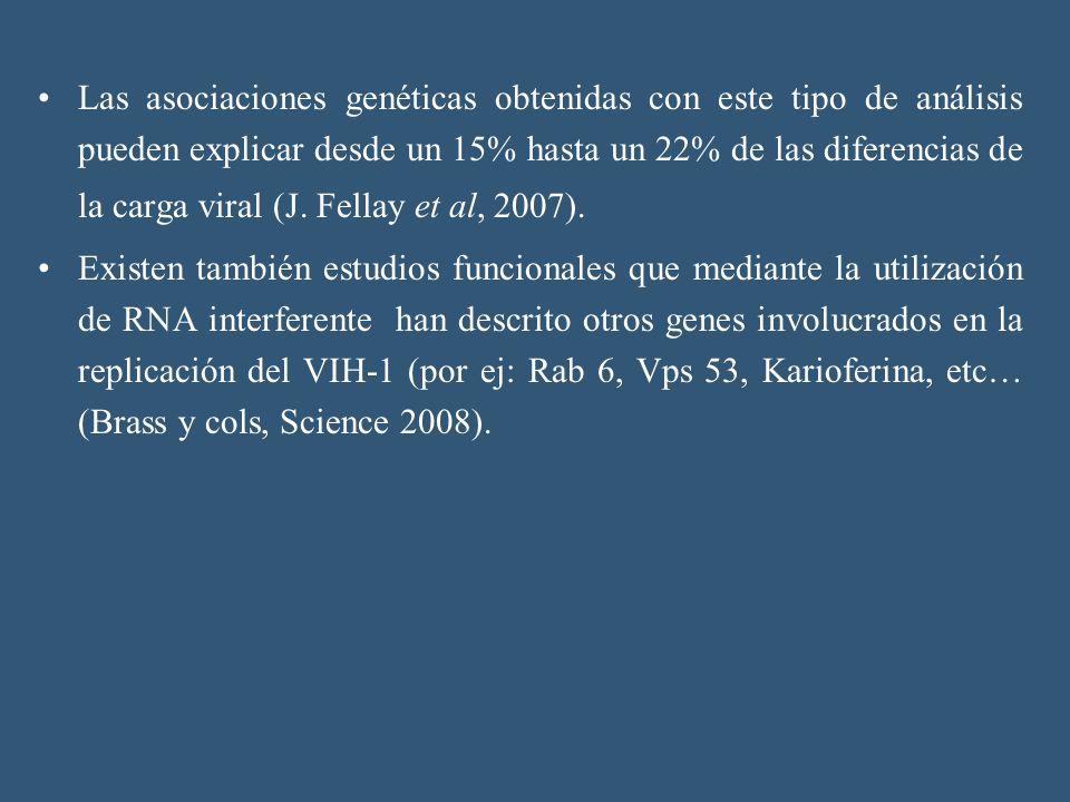 Las asociaciones genéticas obtenidas con este tipo de análisis pueden explicar desde un 15% hasta un 22% de las diferencias de la carga viral (J. Fellay et al, 2007).