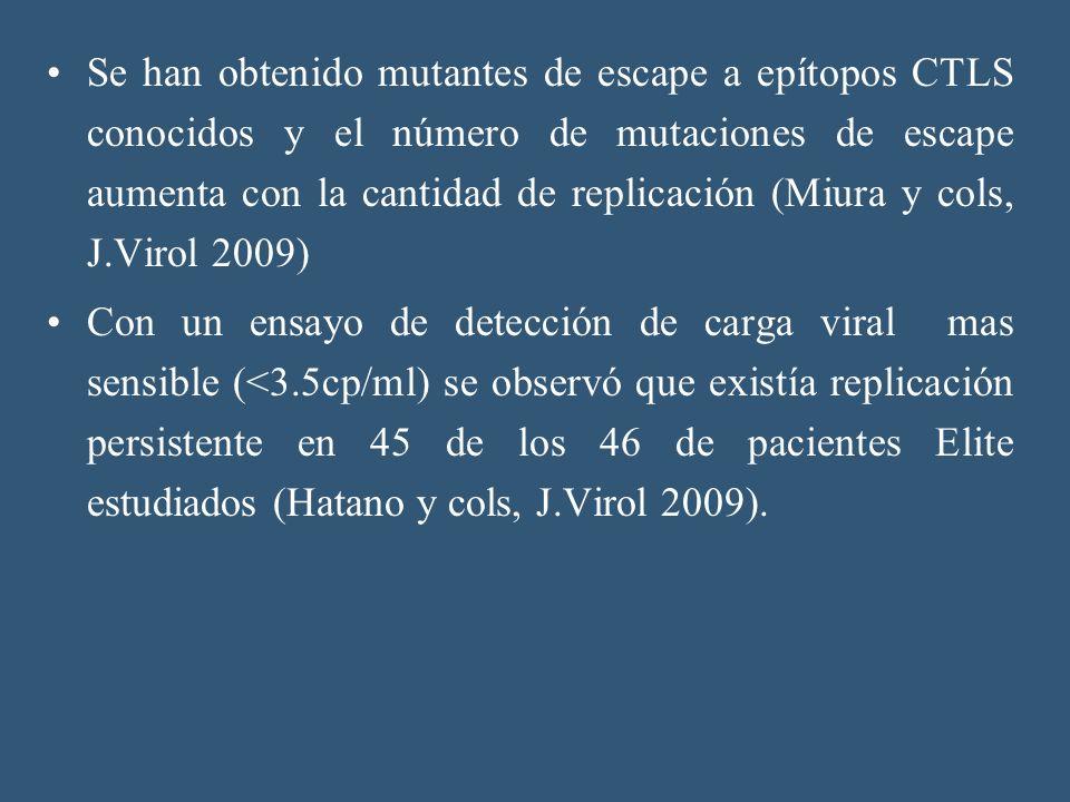 Se han obtenido mutantes de escape a epítopos CTLS conocidos y el número de mutaciones de escape aumenta con la cantidad de replicación (Miura y cols, J.Virol 2009)