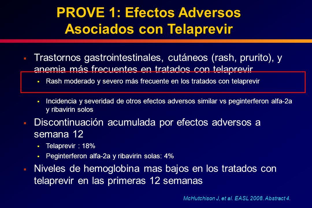 PROVE 1: Efectos Adversos Asociados con Telaprevir