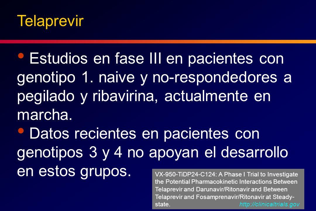 Telaprevir Estudios en fase III en pacientes con genotipo 1. naive y no-respondedores a pegilado y ribavirina, actualmente en marcha.