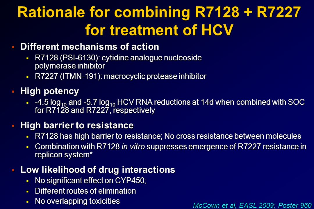 Rationale for combining R7128 + R7227 for treatment of HCV