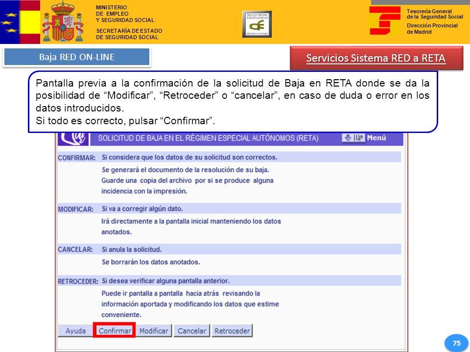 Servicios Sistema RED a RETA