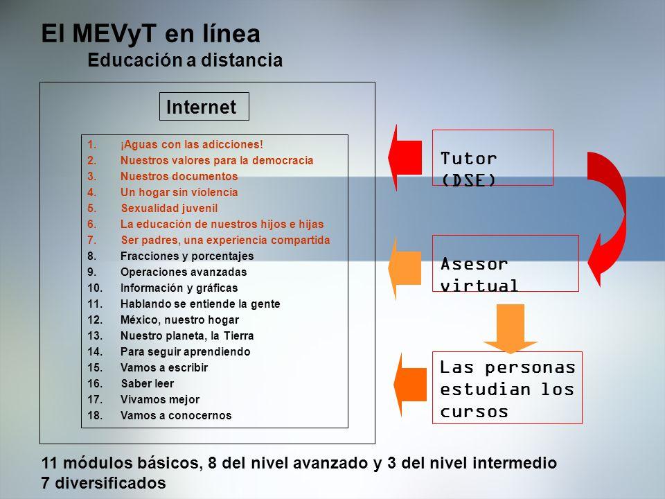 El MEVyT en línea Educación a distancia Internet Tutor (DSE)