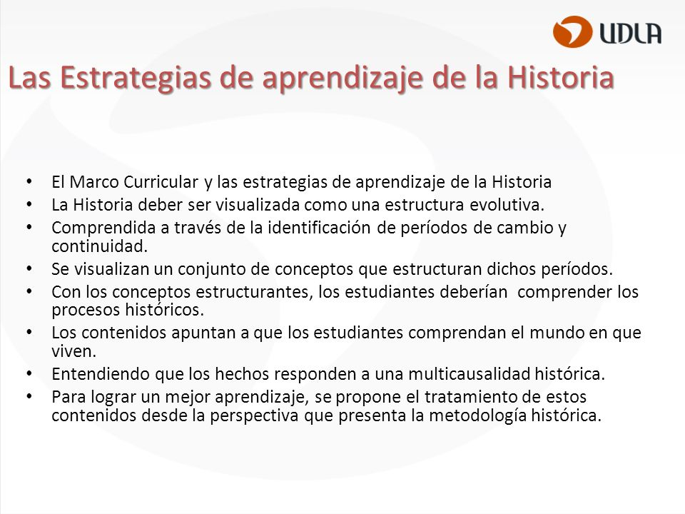 Las Estrategias de aprendizaje de la Historia