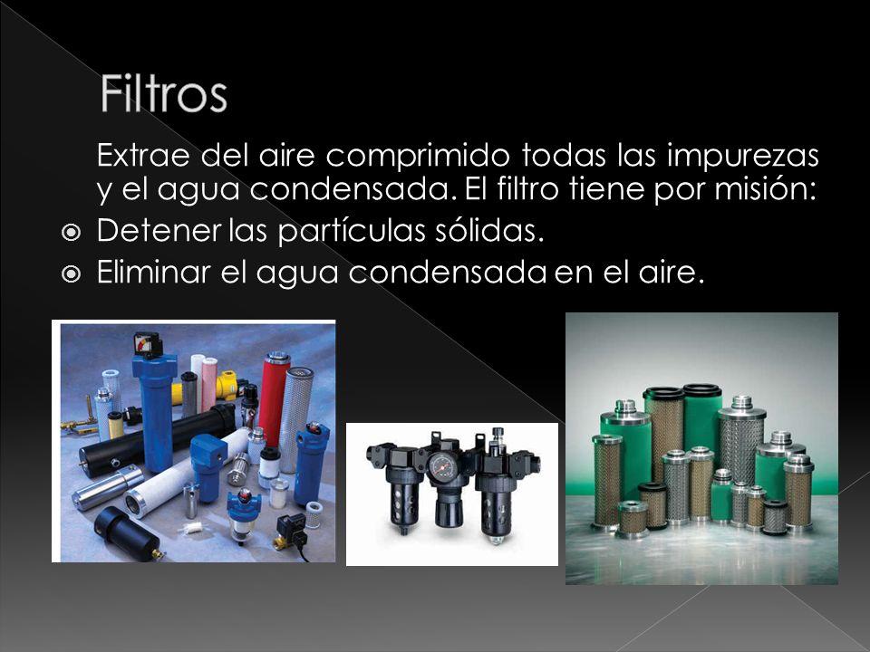 Filtros Extrae del aire comprimido todas las impurezas y el agua condensada. El filtro tiene por misión: