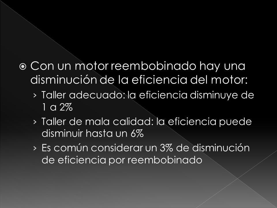Con un motor reembobinado hay una disminución de la eficiencia del motor: