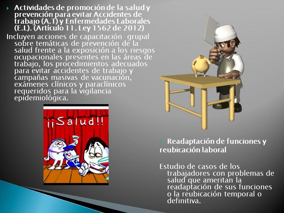 Actividades de promoción de la salud y prevención para evitar Accidentes de trabajo (A.T) y Enfermedades Laborales (E.L). (Artículo 11. Ley 1562 de 2012)