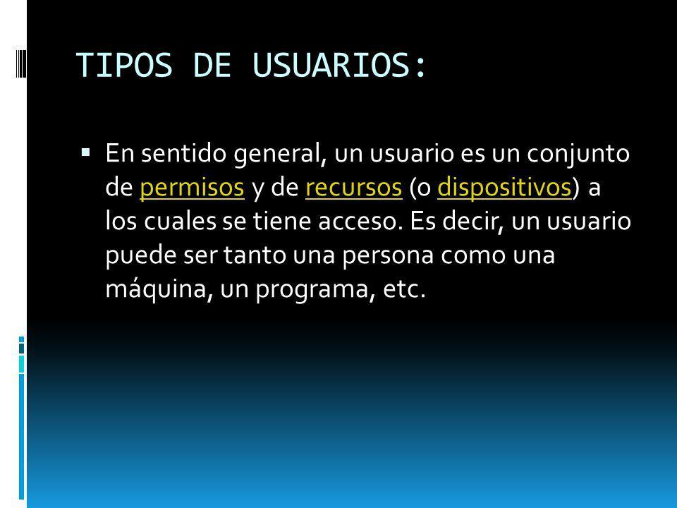 TIPOS DE USUARIOS: