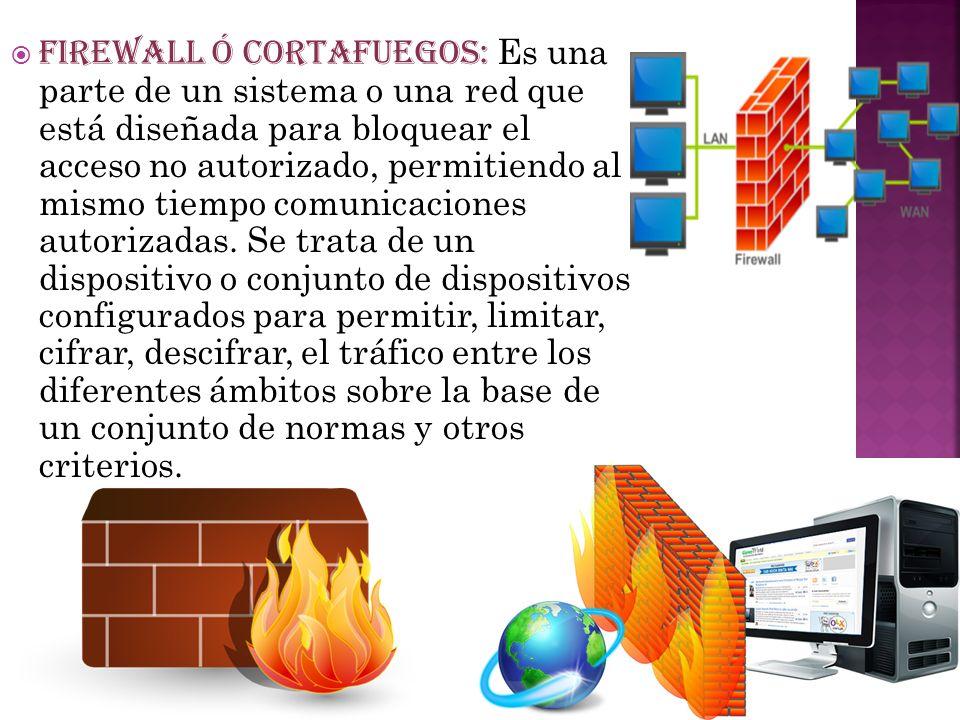 FIREWALL Ó CORTAFUEGOS: Es una parte de un sistema o una red que está diseñada para bloquear el acceso no autorizado, permitiendo al mismo tiempo comunicaciones autorizadas.