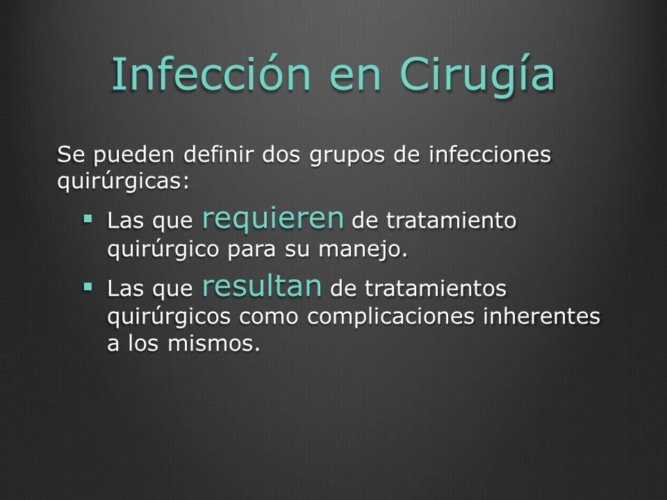 Infección en Cirugía Se pueden definir dos grupos de infecciones quirúrgicas: Las que requieren de tratamiento quirúrgico para su manejo.