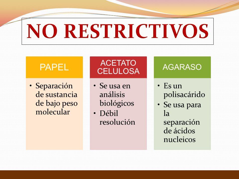 NO RESTRICTIVOS PAPEL Separación de sustancia de bajo peso molecular