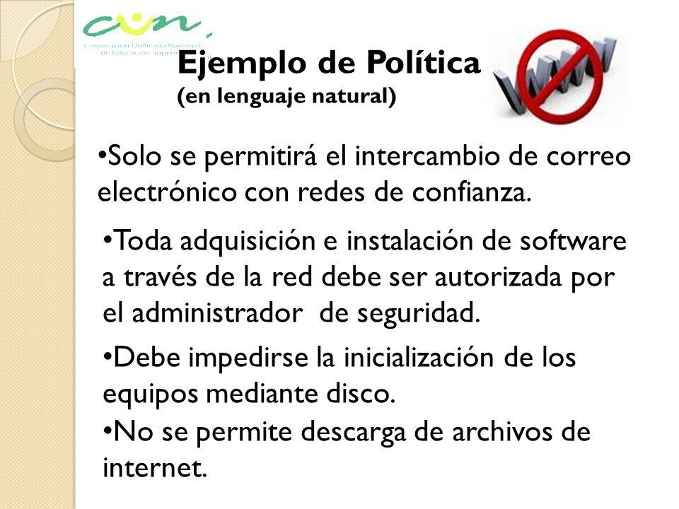 Ejemplo de Política (en lenguaje natural) Solo se permitirá el intercambio de correo electrónico con redes de confianza.