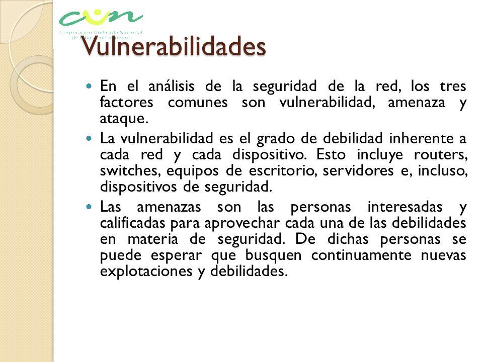 Vulnerabilidades En el análisis de la seguridad de la red, los tres factores comunes son vulnerabilidad, amenaza y ataque.
