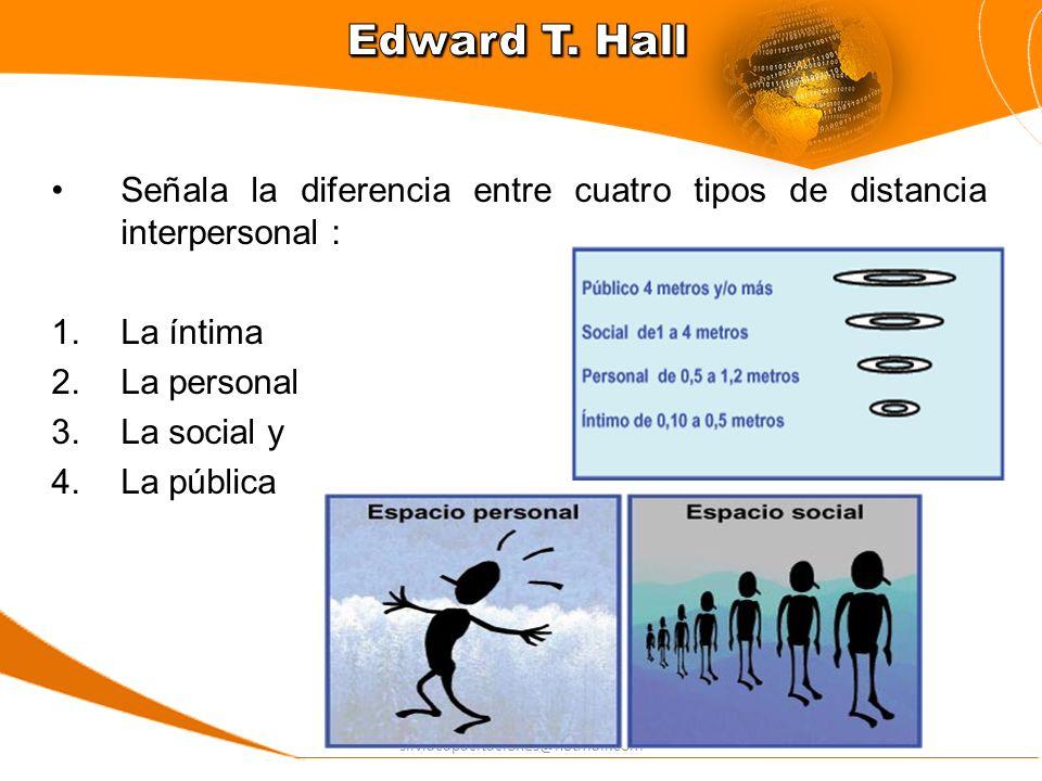 Edward T. HallSeñala la diferencia entre cuatro tipos de distancia interpersonal : La íntima. La personal.