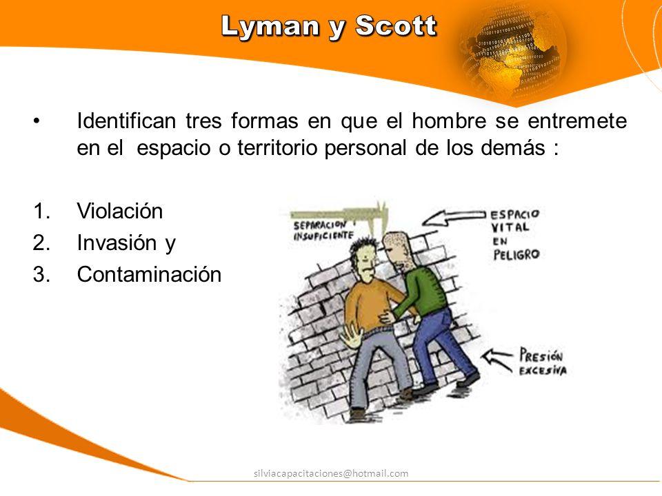 Lyman y ScottIdentifican tres formas en que el hombre se entremete en el espacio o territorio personal de los demás :