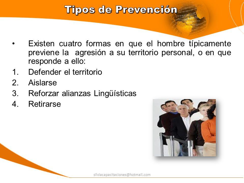 Tipos de Prevención Existen cuatro formas en que el hombre típicamente previene la agresión a su territorio personal, o en que responde a ello: