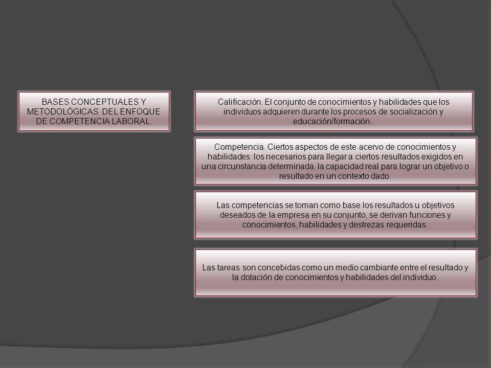 BASES CONCEPTUALES Y METODOLÓGICAS DEL ENFOQUE DE COMPETENCIA LABORAL.