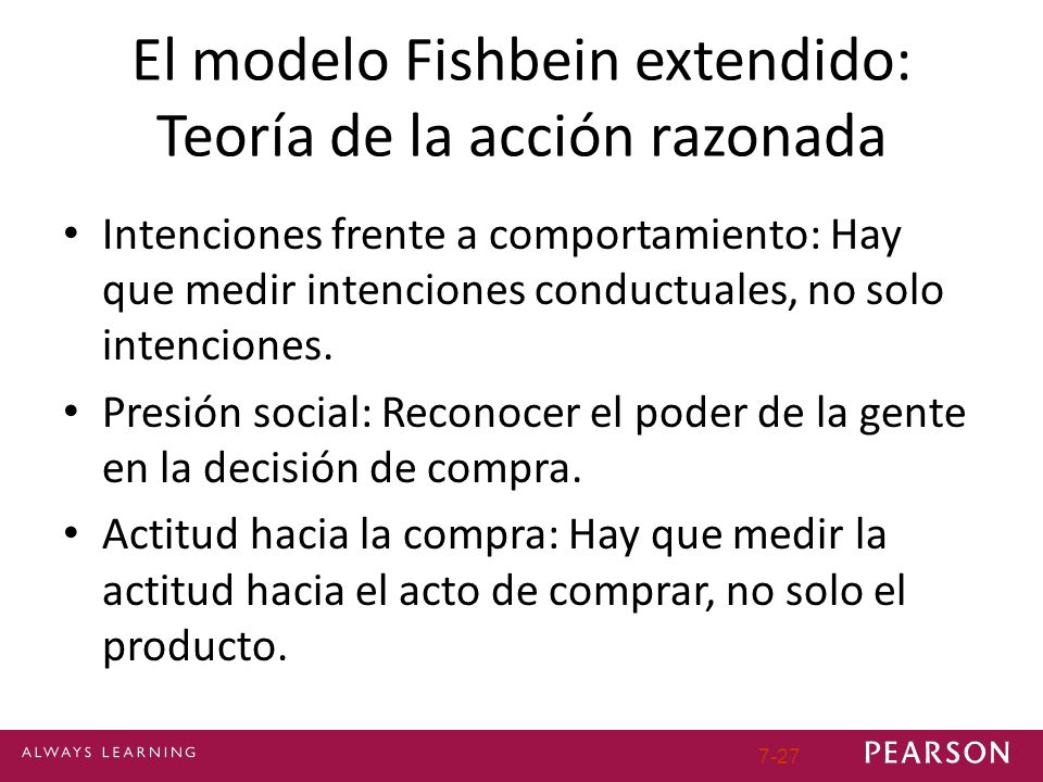 El modelo Fishbein extendido: Teoría de la acción razonada