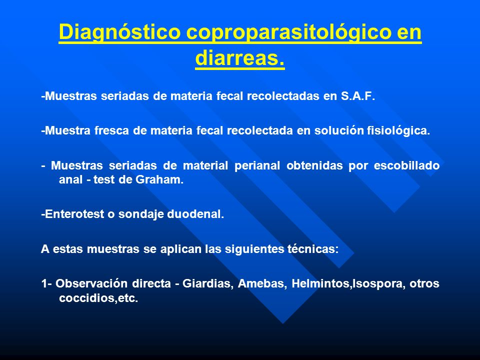 Diagnóstico coproparasitológico en diarreas.