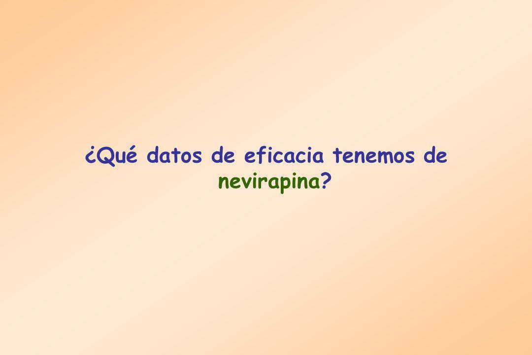 ¿Qué datos de eficacia tenemos de nevirapina