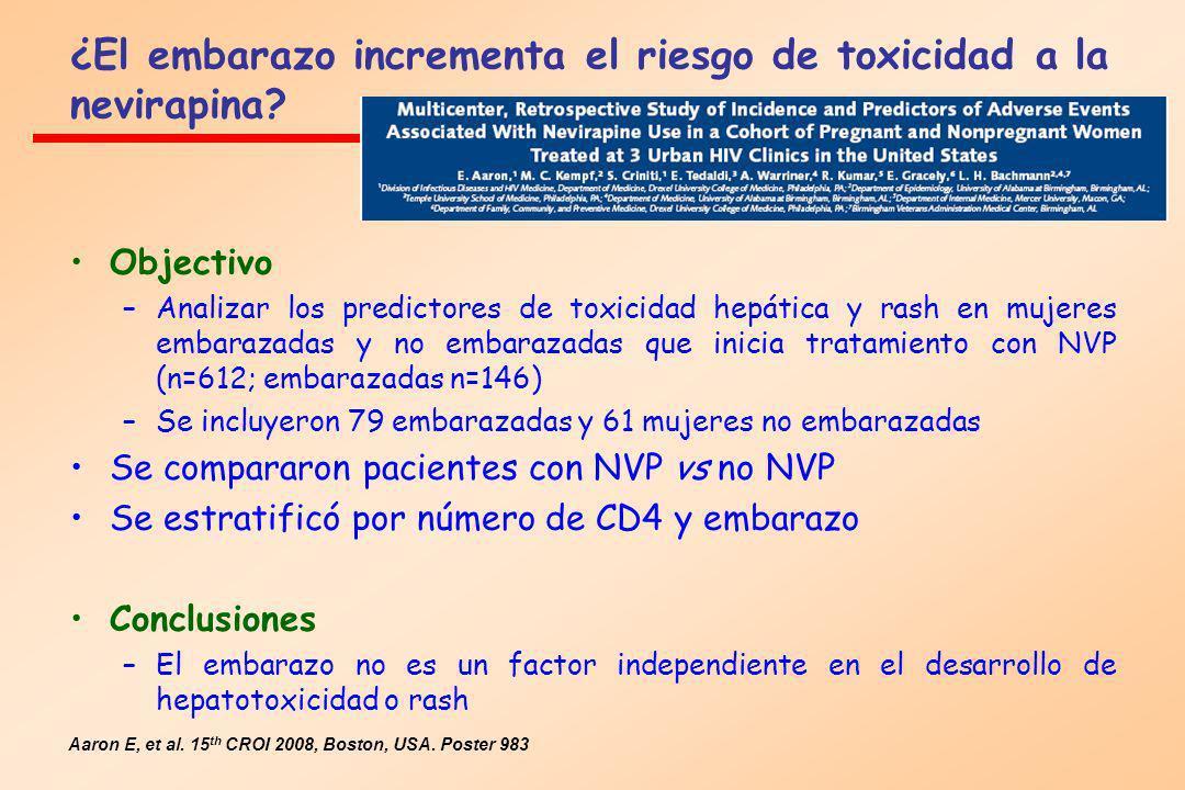 ¿El embarazo incrementa el riesgo de toxicidad a la nevirapina