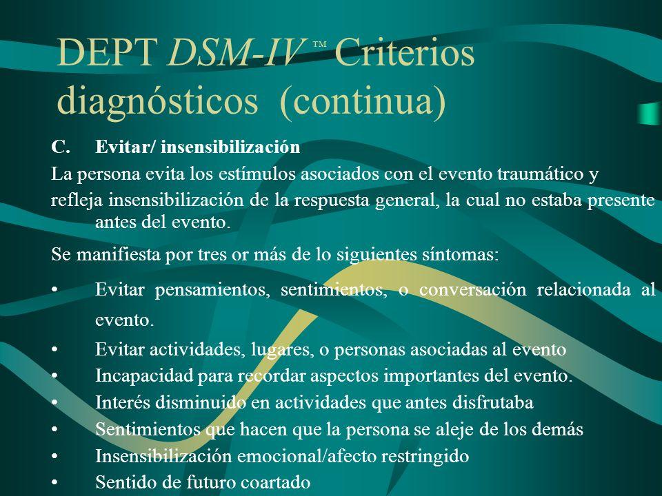 DEPT DSM-IV ™ Criterios diagnósticos (continua)
