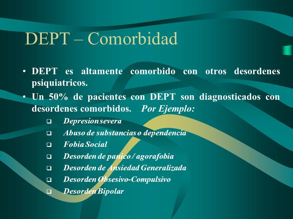 DEPT – ComorbidadDEPT es altamente comorbido con otros desordenes psiquiatricos.