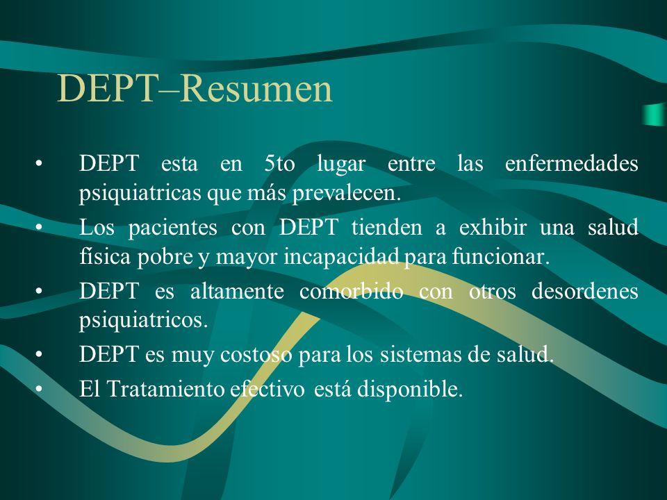 DEPT–ResumenDEPT esta en 5to lugar entre las enfermedades psiquiatricas que más prevalecen.
