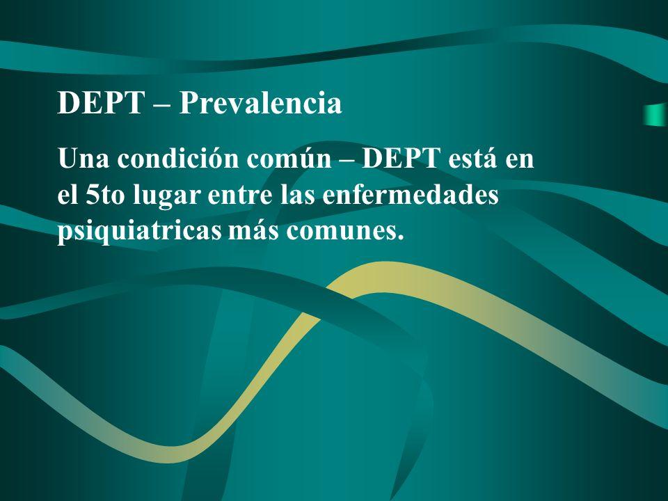 DEPT – Prevalencia Una condición común – DEPT está en el 5to lugar entre las enfermedades psiquiatricas más comunes.