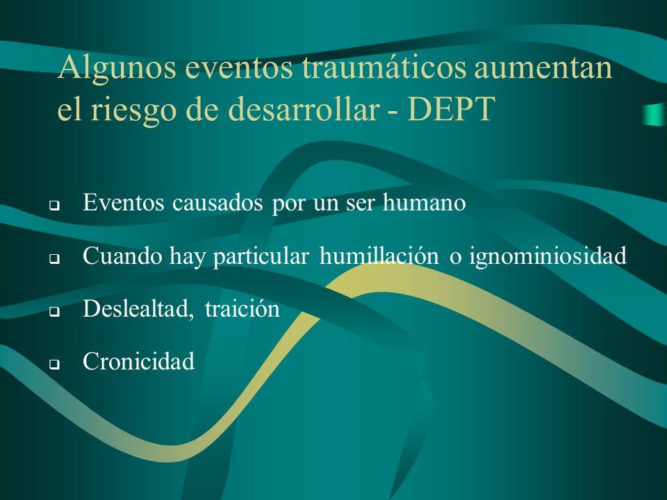 Algunos eventos traumáticos aumentan el riesgo de desarrollar - DEPT