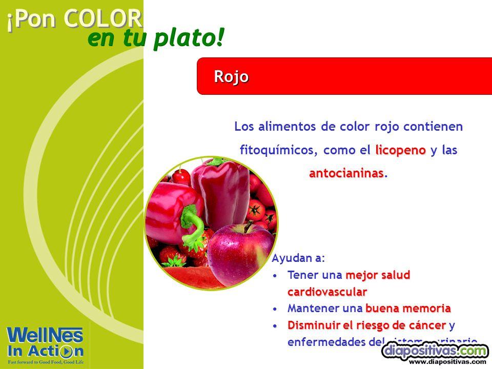 Rojo Los alimentos de color rojo contienen fitoquímicos, como el licopeno y las antocianinas. Ayudan a: