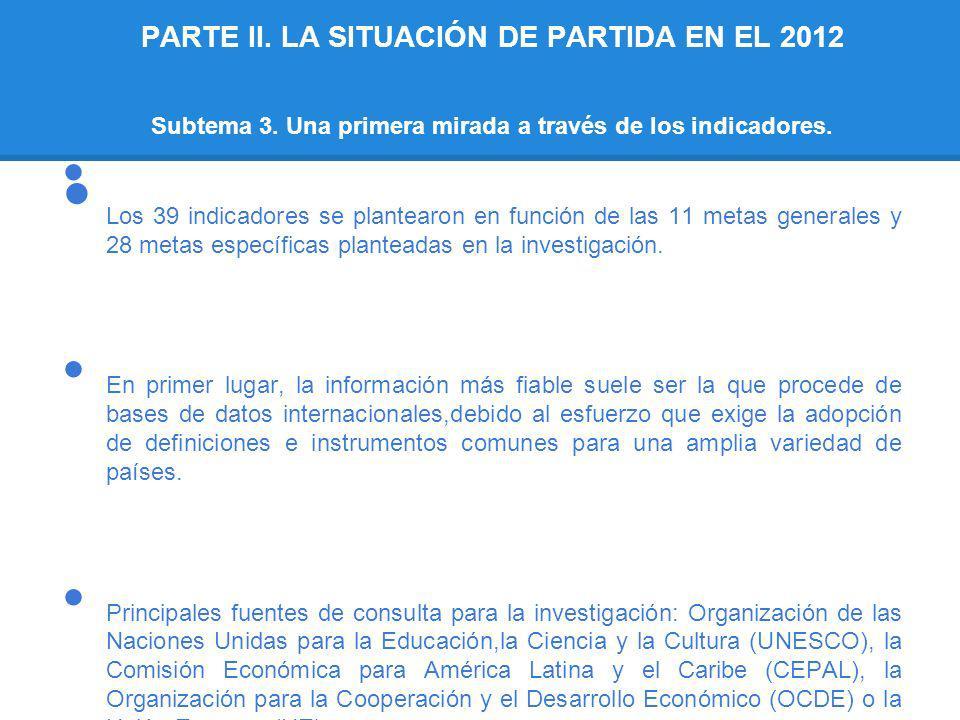 PARTE II. LA SITUACIÓN DE PARTIDA EN EL 2012