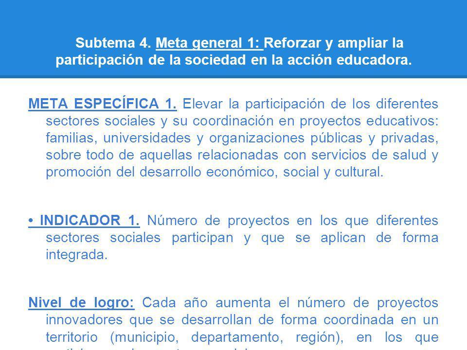 Subtema 4. Meta general 1: Reforzar y ampliar la participación de la sociedad en la acción educadora.