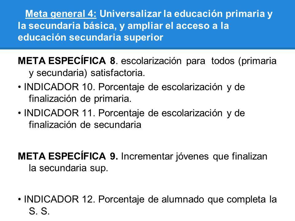Meta general 4: Universalizar la educación primaria y la secundaria básica, y ampliar el acceso a la educación secundaria superior