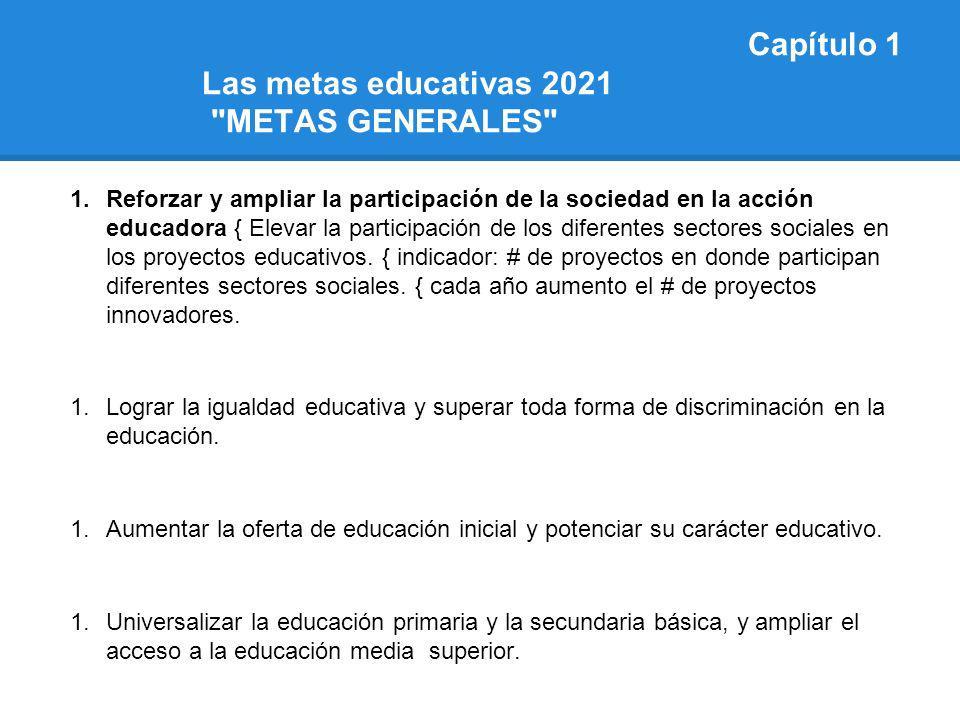 Capítulo 1 Las metas educativas 2021 METAS GENERALES
