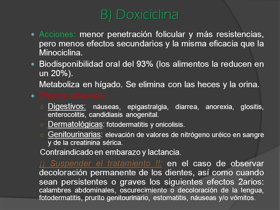 B) Doxiciclina Acciones: menor penetración folicular y más resistencias, pero menos efectos secundarios y la misma eficacia que la Minociclina.