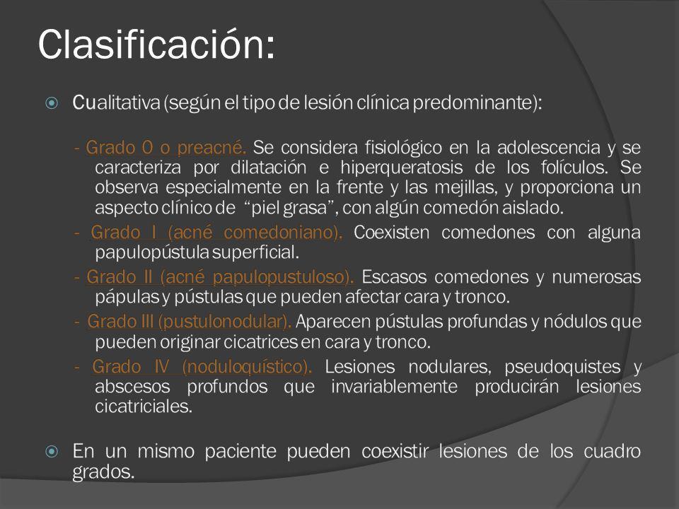 Clasificación: Cualitativa (según el tipo de lesión clínica predominante):