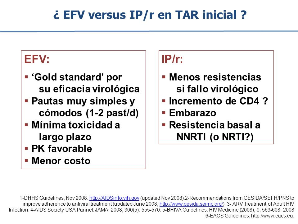 ¿ EFV versus IP/r en TAR inicial