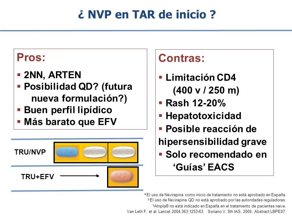 ¿ NVP en TAR de inicio Pros: Contras: 2NN, ARTEN