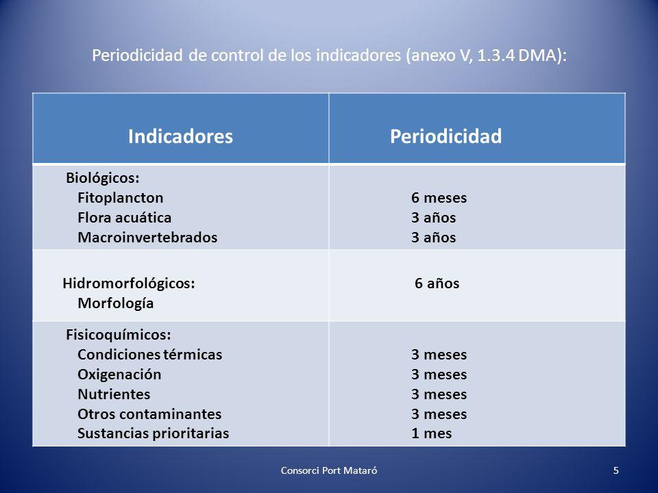 Periodicidad de control de los indicadores (anexo V, 1.3.4 DMA):