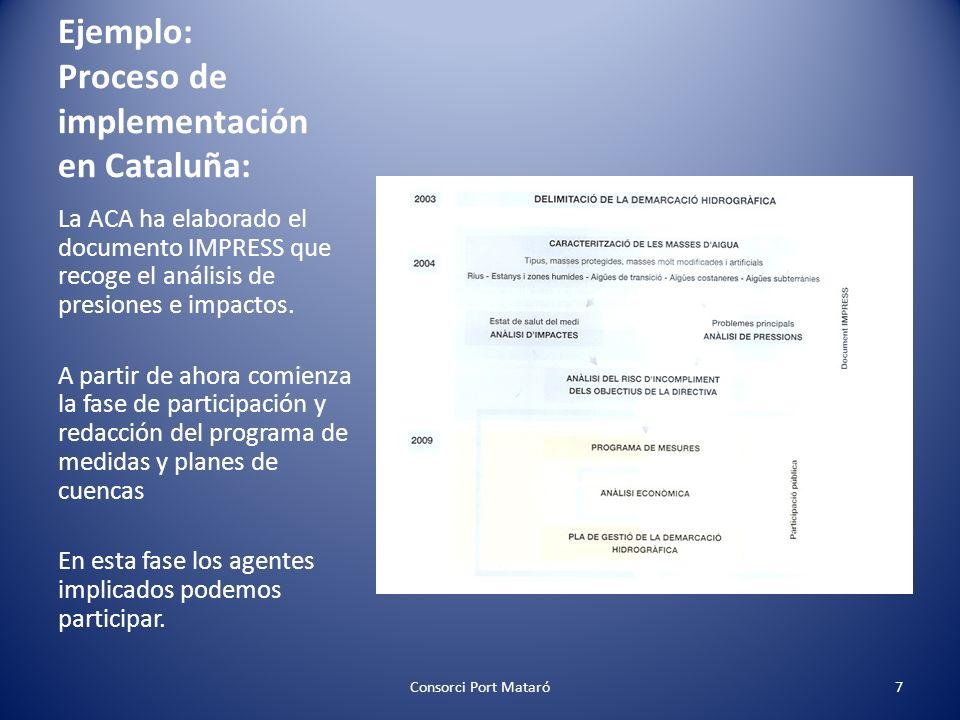 Ejemplo: Proceso de implementación en Cataluña: