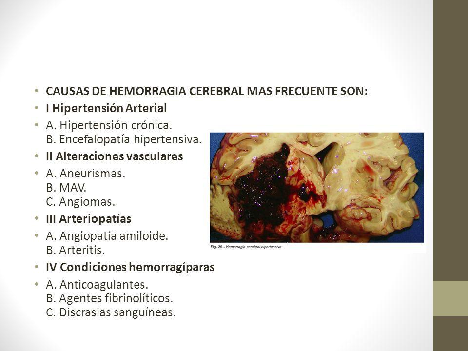CAUSAS DE HEMORRAGIA CEREBRAL MAS FRECUENTE SON: