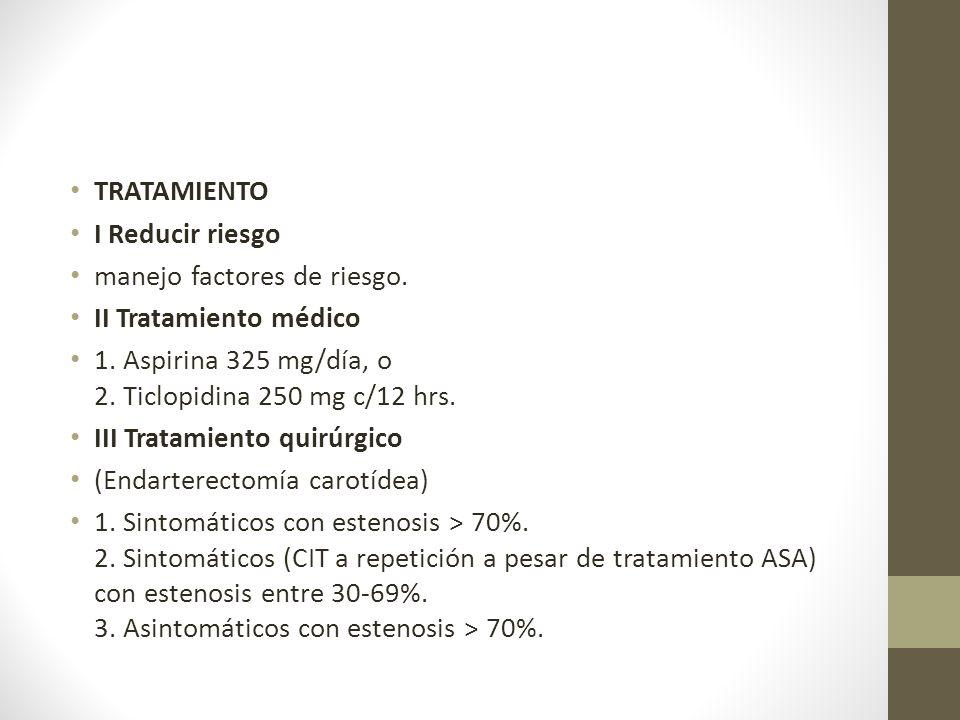 TRATAMIENTO I Reducir riesgo. manejo factores de riesgo. II Tratamiento médico. 1. Aspirina 325 mg/día, o 2. Ticlopidina 250 mg c/12 hrs.